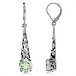 4.28ct. Natural Green Amethyst 925 Sterling Silver Filigree Cone Shape Dangle Earrings