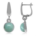 925 Sterling Silver Huggie Hoop Earrings w/ Genuine Amazonite Dangle Drop
