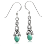 Green Turquoise Inlay 925 Sterling Silver Triquetra Celtic Knot Dangle Hook Earrings
