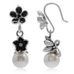 Cultured White Pearl & Black Ename...