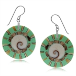 28MM Shiva Shell Circle Disc 925 Sterling Silver Dangle Hook Earrings