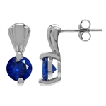 Synthetic Sapphire Blue White Gold Plated 925 Sterling Silver Post Earrings