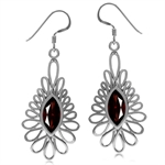 3.7ct. Natural Garnet White Gold Plated 925 Sterling Silver Dangle Hook Earrings