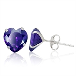 8MM Heart Shape Amethyst Purple CZ 925 Sterling Silver Stud Earrings