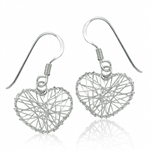 925 Sterling Silver Handmade Wire HEART Dangle Earrings