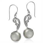 11MM Natural White Mabe Pearl 925 Sterling Silver Victorian Style Earrings