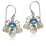 Natural White Pearl, Blue Topaz & Mother of Pearl 925 Sterling Silver Dangle Earrings