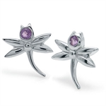 Amethyst Sterling Silver Dragonfly Stud Earrings