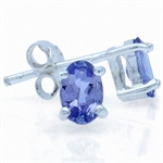 Genuine Tanzanite 925 Sterling Silver Stud Earrings