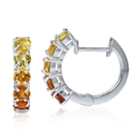 5-Stone Natural Multi Colored Yellow & Orange Sapphire 925 Sterling Silver Huggie Earrings