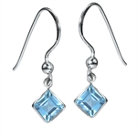 2.8ct. Natural Blue Topaz 925 Sterling Silver Dangle Earrings