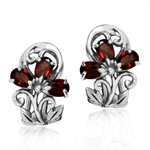 Natural Garnet 925 Sterling Silver Victorian Style Flower & Leaf Omega Clip Earrings