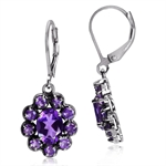 2.8ct. Natural African Amethyst 925 Sterling Silver Flower Cluster Leverback Dangle Earrings