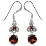 1.99ct. Natural Garnet 925 Sterling Silver Victorian Style Dangle Earrings