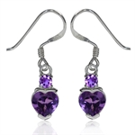 1.36ct. Natural Heart Shape African Amethyst 925 Sterling Silver Dangle Earrings