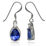 Tanzanite Blue & White CZ 925 Sterling Silver Drop Dangle Earrings