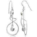 925 Sterling Silver Swirl & Ball Dangle Earrings