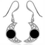 Black Onyx Inlay 925 Sterling Silver Filigree Moon Dangle Earrings