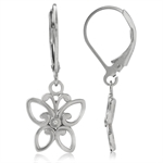 Natural Diamond White Gold Plated 925 Sterling Silver Butterfly Leverback Earrings