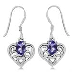 Natural Tanzanite 925 Sterling Silver Southwest Style Filigree Heart Dangle Earrings