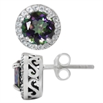 3.26ct. Mystic & White Topaz 925 Sterling Silver Stud/Post Earrings