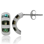 Abalone/Paua Shell 925 Sterling Silver C-Hoop Earrings