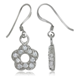 CZ White Gold Plated 925 Sterling Silver Flower Dangle Earrings