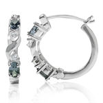Simulated Color Change Alexandrite & White CZ 925 Sterling Silver Hoop Earrings