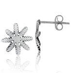 925 Sterling Silver Snowflake Stud/Post Earrings