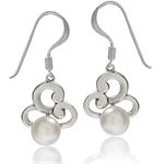 6MM Cultured White Pearl 925 Sterling Silver Swirl Dangle Earrings