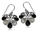 White Mother Of Pearl & Onyx 925 Sterling Silver Heart Victorian Style Dangle Earrings