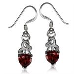 1.68ct. Natural Heart Shape Garnet 925 Sterling Silver Swirl Dangle Earrings