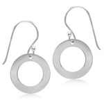15MM Geometric Donut Circle 925 Sterling Silver Dangle Earrings