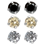 6-Piece 5MM Black, White & Champange CZ 925 Sterling Silver Stud Earrings Set