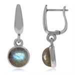 925 Sterling Silver Huggie Hoop Earrings w/ Genuine Labradorite Dangle Drop