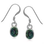 Oval Shape Abalone/Paua Shell Inlay 925 Sterling Silver Drop Dangle Hook Earrings