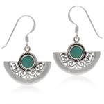 Green Turquoise 925 Sterling Silver Baroque Inspired Dangle Fan Shape Dangle Earrings