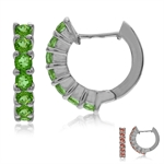 Synthetic Color Change Diaspore White Gold Plated 925 Sterling Silver Journey Huggie Earrings