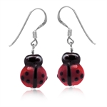 Red Ladybug Glass Bead 925 Sterling Silver Dangle Hook Earrings