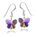 Butterfly Shape Purple Crystal 925 Sterling Silver Dangle Hook Earrings