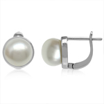 8MM Cultured Freshwater Pearl White Gold Plated 925 Sterling Silver English Hook Earrings