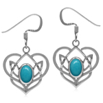 Genuine Arizona Turquoise 925 Sterling Silver Celtic Heart Knot Dangle Earrings-Light Weight