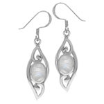 Oval Natural Moonstone 925 Sterling Silver Filigree Swirl Drop Dangle Earrings