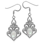 Genuine Rainbow Moonstone 925 Sterling Silver Victorian Inspired Chandelier Dangle Earrings