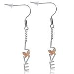 CZ Two-Tone 316L PVD Stainless Steel LOVE & BUTTERFLY Dangle Earrings