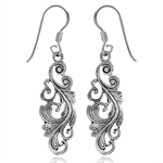 925 Sterling Silver Art Nouveau Leaf Dangle Earrings