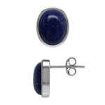 10x8 MM Natural Lapis Lazuli 925 Sterling Silver Stud Post Earrings