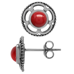 Created Red Coral 925 Sterling Sil...