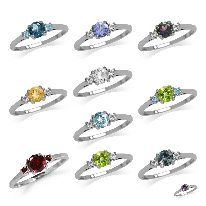 3-Stone Multi Colored Gemstone 925 Sterling Silver