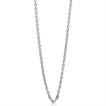 0.8MM White Gold Plated 925 Sterling Silver Single Cable Chain Necklace 18 Inch